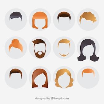 Styles de cheveux de vecteur sous forme de silhouette