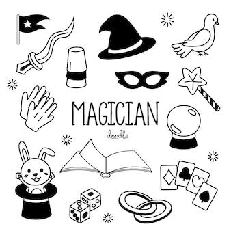 Styles de dessin à la main articles de magicien. magicien de doodles