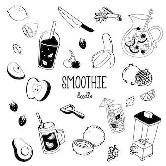 Styles de dessin à la main pour le magasin de smoothie.