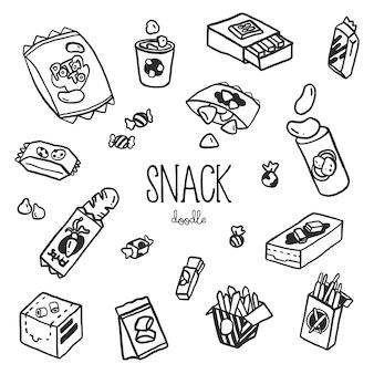 Styles de griffonnage à la main avec snack. collation de doodle.