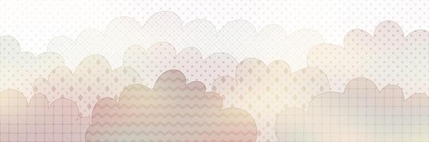 Stylisation vectorielle des nuages, différentes textures, fond géométrique, bannière