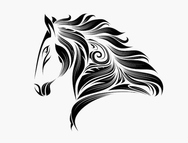Stylisé d'un cheval dans le style de zentangle.