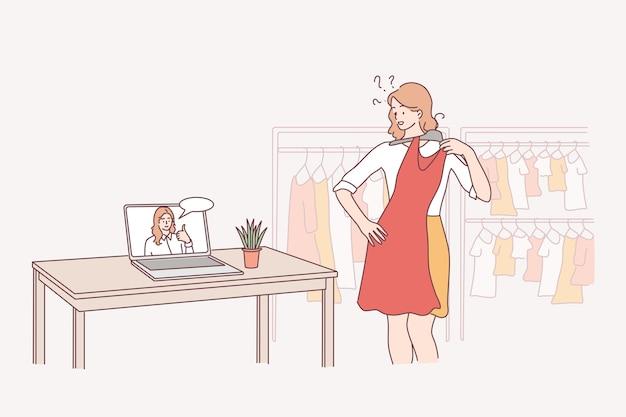 Styliste en ligne, consultation de mode, choix du meilleur concept de vêtements.