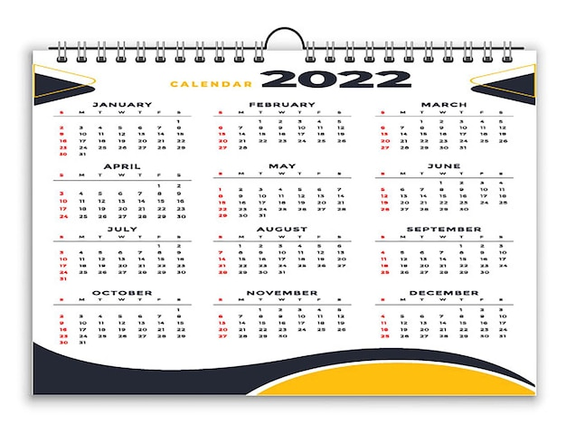 Styliste professionnel calendrier 2022 modèle de conception jaune noir