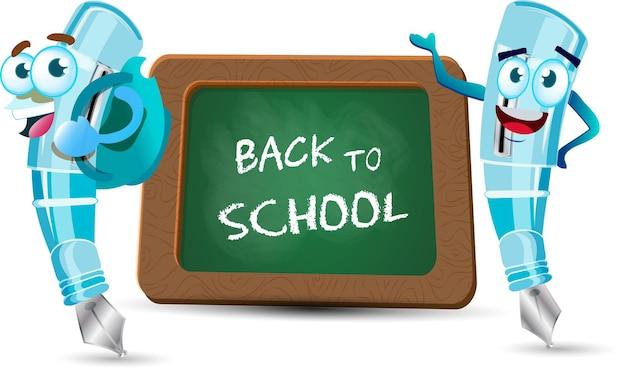 Stylo bleu mignon dessin animé kawaii vecteur caractère scolaire