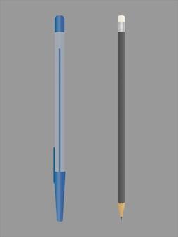 Stylo bleu réaliste. crayon noir avec gomme à la fin.