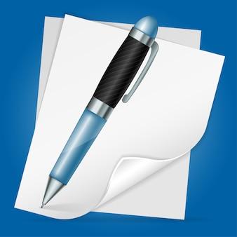 Stylo avec feuille de papier