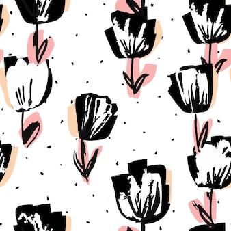 Stylo feutre pivoine noir et rose modèle sans couture de vecteur. illustration romantique de tulipe. conception de marqueur de la saint-valentin. fond de mode fleur.