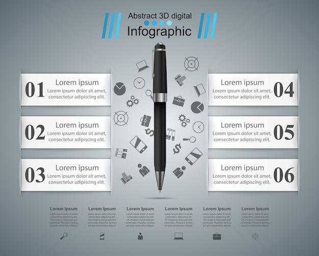 Stylo, icône de l'éducation. infographie d'entreprise