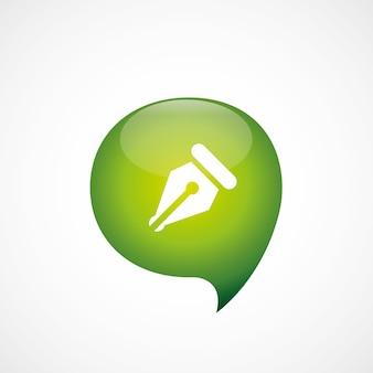 Stylo icône vert pense logo symbole bulle, isolé sur fond blanc