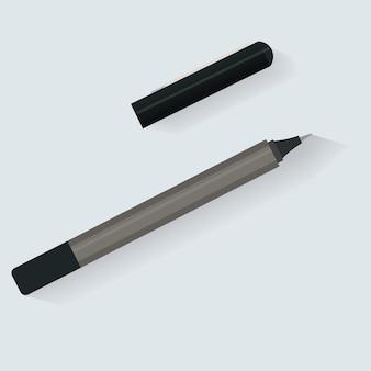 Stylo marqueur papeterie icône vecteur