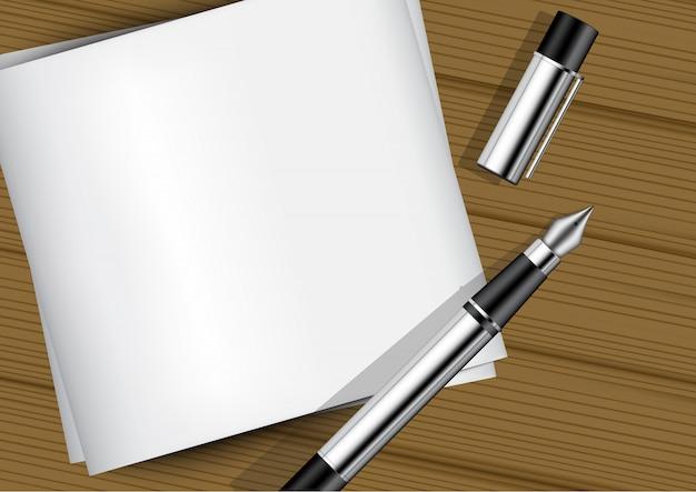 Stylo à plume réaliste maquette 3d sur papier blanc sur bois
