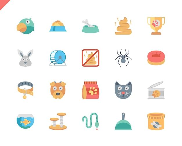 Stylo set simple et icônes plats animaux