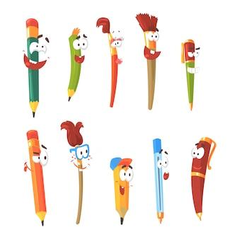Stylo souriant, crayons et pinceaux, ensemble de personnages de dessins animés fixes isolés