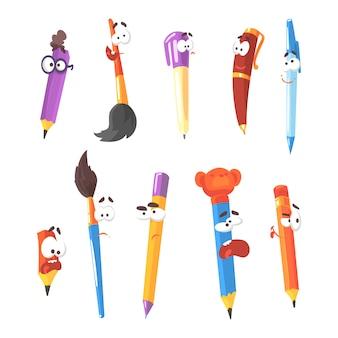 Stylo souriant, crayons et pinceaux, série de personnages de dessins animés fixes isolés