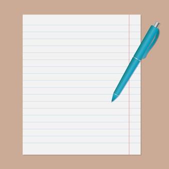 Stylo turquoise sur feuille de cahier en ligne.