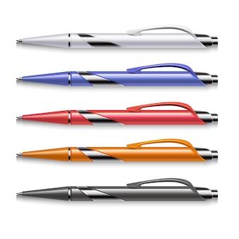 Stylos de bureau de couleur vector. ensemble de stylo à bille coloré pour le travail de bureau et l'éducation à l'école illustr