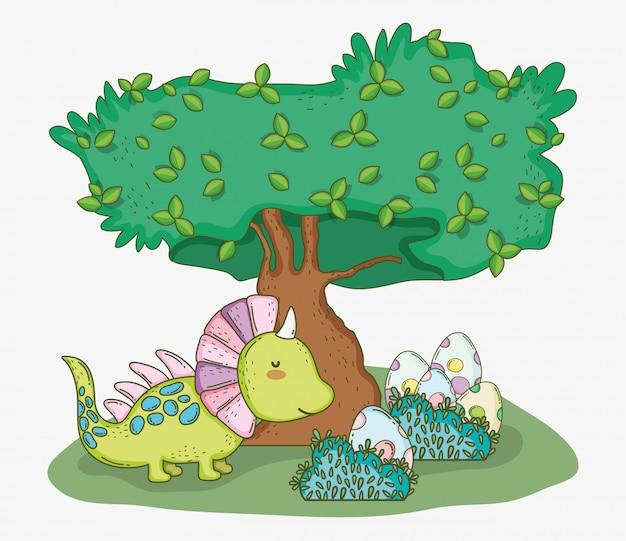 Styracosaure mignon avec oeufs de dino et arbre