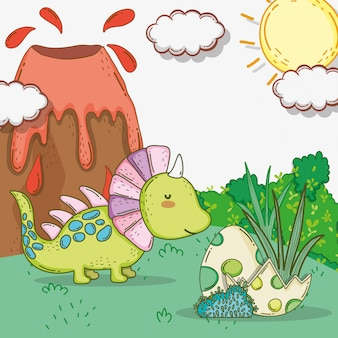 Styracosaure mignon avec des œufs de dino et un volcan