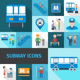 Subway icons flat