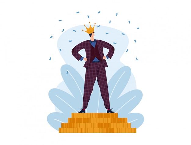 Succès en affaires, homme d'affaires gagnant, entrepreneurs de concept dans la réussite professionnelle, conception en illustration de style plat.