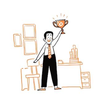 Succès, célébration, victoire, réalisation des objectifs, concept d'entreprise.