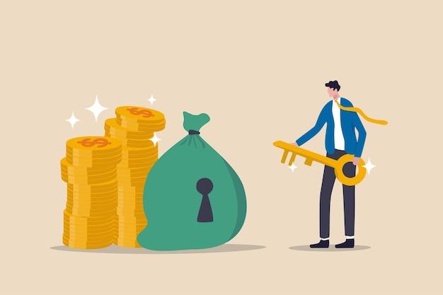 Succès de la clé financière, refuge sûr pour l'investissement ou le gestionnaire de patrimoine pour gérer le concept de l'argent, conseiller financier de l'homme d'affaires de succès tenant la clé d'or pour le sac d'argent avec trou de la serrure et pile de pièces d'or