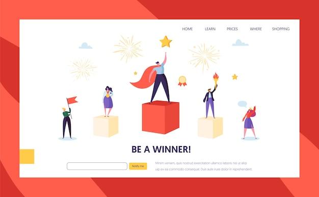 Succès commercial, leadership, modèle de page de destination de réussite. caractère d'homme d'affaires avec prix, travail d'équipe réussi pour site web ou page web.