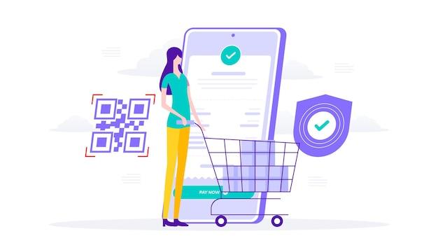 Succès du paiement de la facture et sécurisé via mobile, code qr, femme avec illustration plate de caddie.