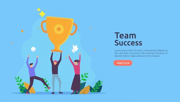 Succès de l'équipe avec la coupe du trophée. concept de travail d'équipe gagnant.