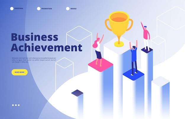 Succès équipe isométrique. entreprise triomphe accomplissement mission d'entreprise meilleur prix gagnant gagnant fond de but