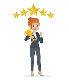 Succès gagnant de concept de femme d'affaires. femme souriante de dessin animé excitant élever le trophée.