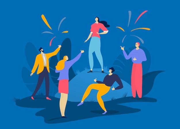 Succès de personnage féminin masculin, les gens du groupe félicitent ensemble la meilleure personne prospère sur bleu, illustration.