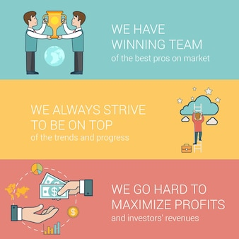 Succès plat linéaire en entreprise, équipe gagnante, concepts de relations avec les investisseurs définis pour les images de héros de site web. hommes d & # 39; affaires avec trophée, homme sur échelle, mains donnant et prenant de l & # 39; argent