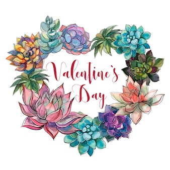Succulent coeur valentin