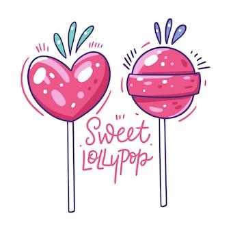 Sucette rose douce. style de bande dessinée plat dessiné à la main.