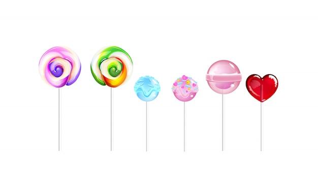Sucettes, bonbons au sucre illustrations réalistes définies