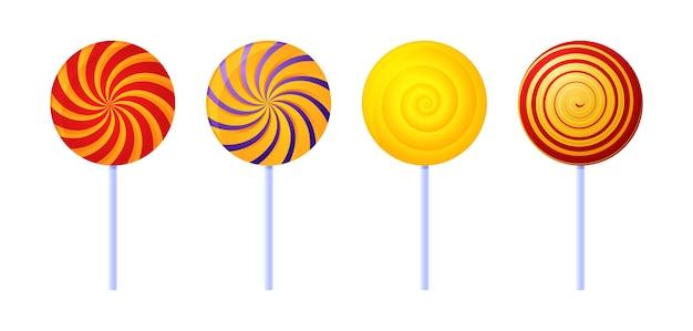 Sucettes tourbillonnantes. bonbons colorés au sucre