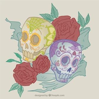 Sucre crânes roses et illustrations
