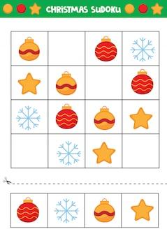 Sudoku de noël pour les enfants. jeu éducatif pour les enfants.