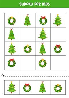Sudoku pour les enfants avec des couronnes de noël et des sapins jeu logique éducatif
