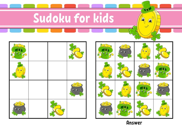 Sudoku pour les enfants. feuille de travail de développement de l'éducation. le jour de la saint-patrick.