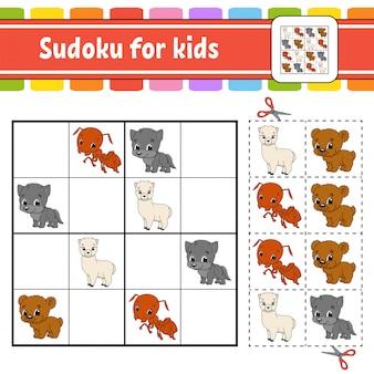 Sudoku pour les enfants. feuille de travail pour le développement de l'éducation. page d'activité avec photos.