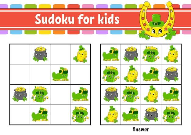 Sudoku pour les enfants. le jour de la saint-patrick.