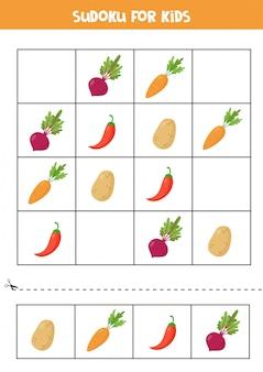 Sudoku pour les enfants avec des légumes mignons de bande dessinée.