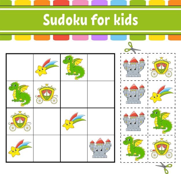 Sudoku pour les enfants thème de conte de fées feuille de travail sur l'éducation