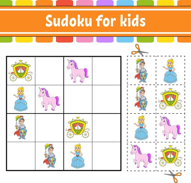 Sudoku pour les enfants thème de conte de fées