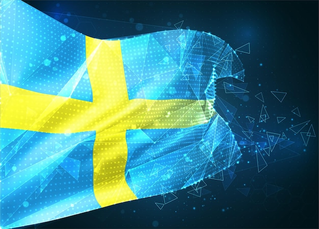 Suède, drapeau vectoriel, objet 3d abstrait virtuel à partir de polygones triangulaires sur fond bleu