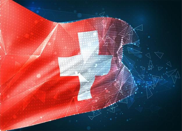 Suisse, drapeau vectoriel, objet 3d abstrait virtuel à partir de polygones triangulaires sur fond bleu