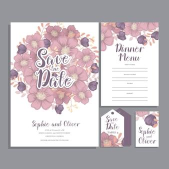 Suite de carte d'invitation de mariage avec fleur